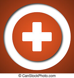 Medical cross icon Internet button on white background