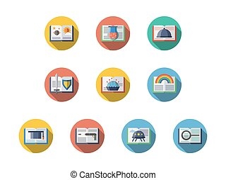 Book genres round flat vector icons set - Samples of books...