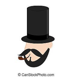 faceless man head with facial hair and hat icon - flat...