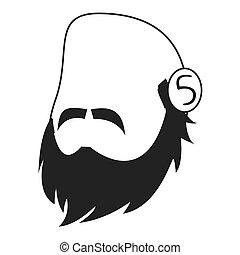 faceless man head with facial hair icon - flat design...
