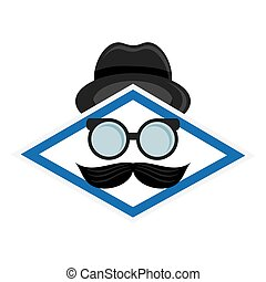 hat glasses and mustache icon - flat design hat glasses and...