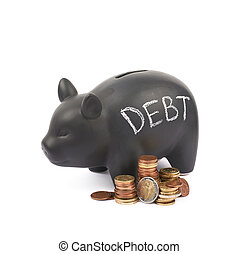 Ceramic piggy bank container isolated - Word Debt written...