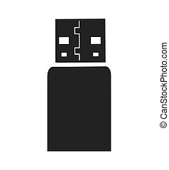 Usb silhouette icon Gadget and technology design Vector...
