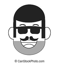 face of man with facial hair icon - flat design face of man...