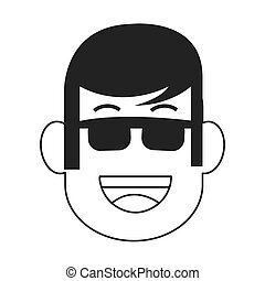 face of man with sunglasses icon