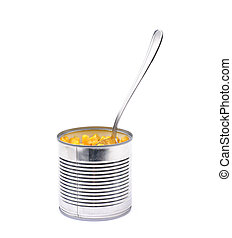 Canned corn in a tincan isolated - Canned corn in a tincan...
