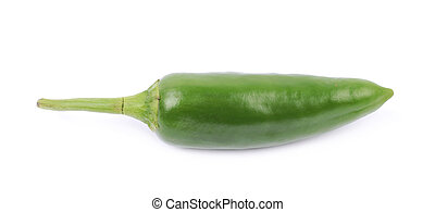 Green jalapeno pepper isolated over the white background