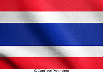 Flag of Thailand waving in wind with fabric texture