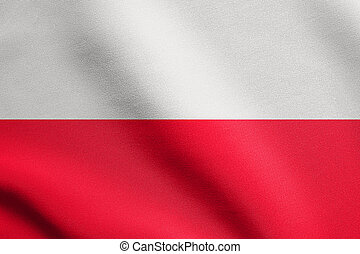 Flag of Poland waving in wind with fabric texture