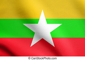 Flag of Myanmar waving in wind with fabric texture - Flag of...