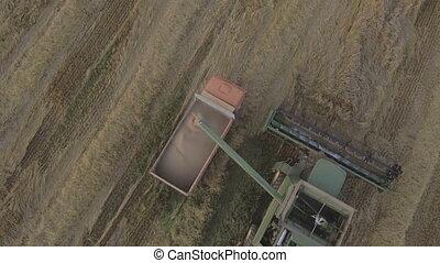 Aerial view combine unloads grain in the truck.