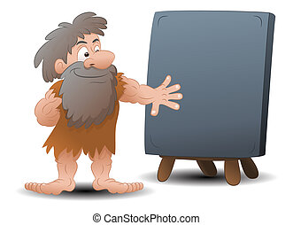 prehistoric blank stone sign - illustration of a cave man...