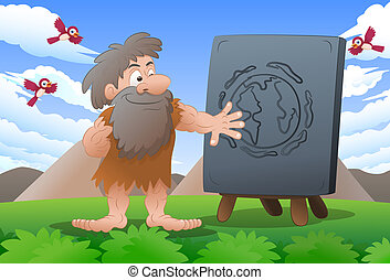 earth sign - illustration of a cave man wearing leather...