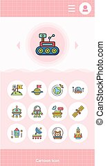 icon set space vector