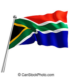 south africa flag - south africa 3d flag on white background