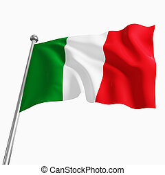 italian flag - 3d italian flag isolated on white background