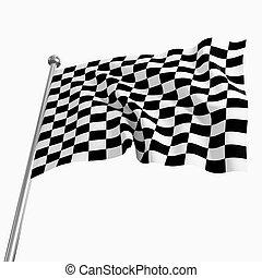 start flag - 3d image of classic start flag on white...