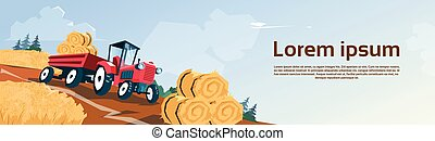 Tractor Straw Bale Wheat Harvest Field Banner With Copy...