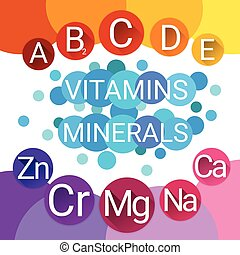 Essential Chemical Elements Nutrient Minerals Vitamins Flat...