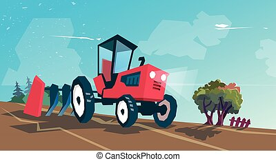 Tractor Plowing Field Farming Vector