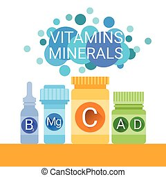 Bottle Of Essential Chemical Elements Nutrient Minerals...
