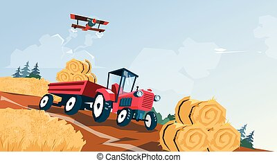 Tractor Straw Bale Wheat Harvest Field Vector Illustration