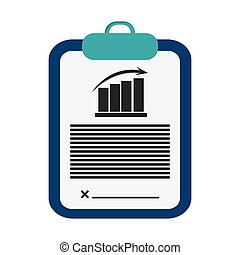 clipboard with graph chart icon - flat design clipboard with...