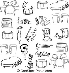 Doodle music element with hand draw