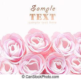 brotos, artificial, Cor-de-rosa, rosas, fim, cima