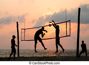 beach Volleyball - silhouette of beach Volleyball player on...