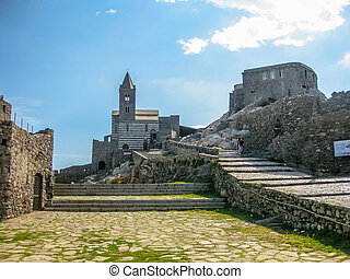 Porto Venere church - The famous gothic Church of St. Peter,...