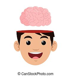 person with brain outside head icon
