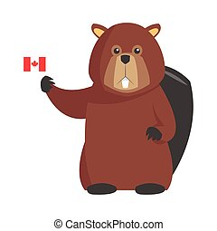 single beaver with canadian flag icon - flat design single...