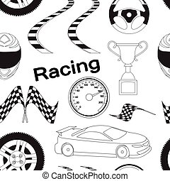 Car Racing pattern Stopwatch and speedometer, tire and...