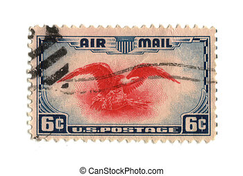 Old postage stamp from USA six cent