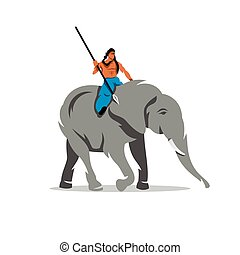 Vector Elephant with mahout Cartoon Illustration. - A man...