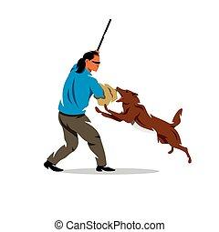 Vector Dog training. Biting pet and person. Cartoon Illustration.