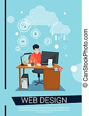 Web Designer Business Man Work Desktop Computer Workplace