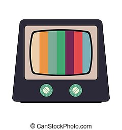 retro classic tv and colored stripes on screen icon