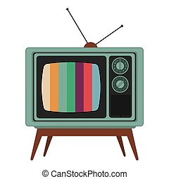 retro classic tv with antenna and colored stripes on screen icon