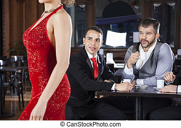 Pervert Customers Looking At Tango Dancer In Cafe - Pervert...