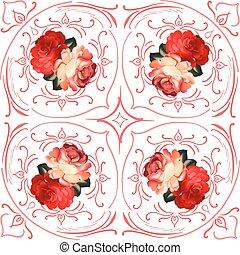 Roses wedding wreath vector card