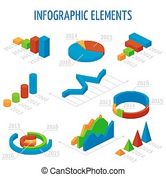 Isometric 3d vector charts set for infographics. Business...