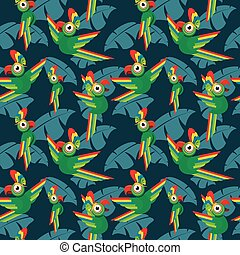 Parrots in the jungle seamless vector tropical pattern