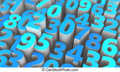 random numbers - 3d illustration of random numbers...