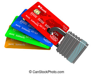 locked credit cards - 3d illustration of cards and lock...