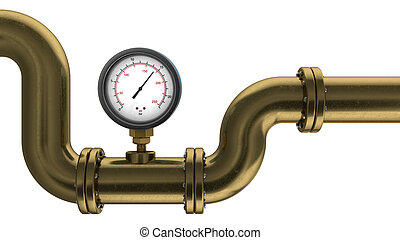 manometer and pipe - 3d illustration of manometer on pipe