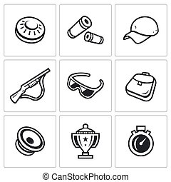Vector Set of Clay Shooting Icons. Plate, Bullet, Cap, Gun,...