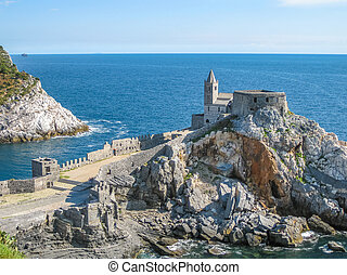 Portovenere aerial virew - Aerial view of church of St...
