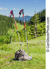 Trekking poles and trekking shoes on background of forested...